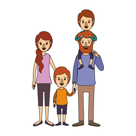 color image caricature family parents with boy on his back and girl taken hands vector illustration