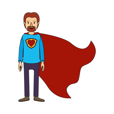 Color image caricature full body super dad hero with beard vector illustration Illustration