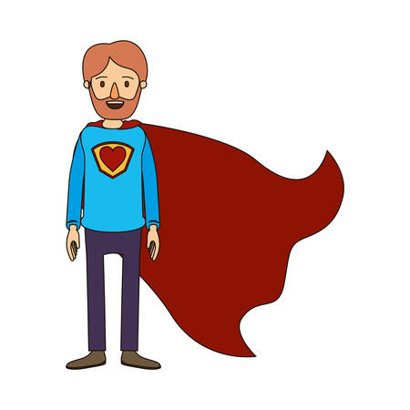 Color image caricature full body super dad hero with beard and heart symbol in uniform vector illustration
