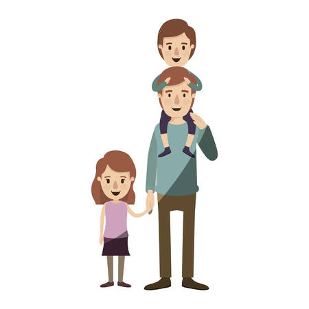 light color shading caricature dad with boy on his back and girl taken hands vector illustration