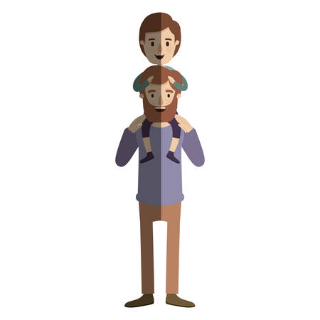 group of young adults: light color shading caricature bearded father with boy on his back vector illustration