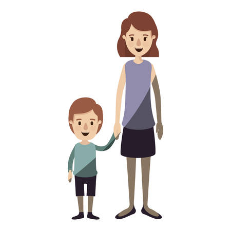 long nose: light color shading caricature full body mother taken hand with boy vector illustration Illustration