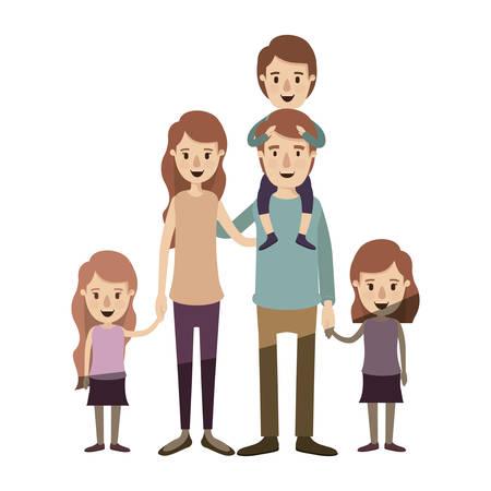 似顔絵の光の色の網かけ彼の背中に男の子と大きな家族両親と娘たちの撮影手ベクトル イラスト