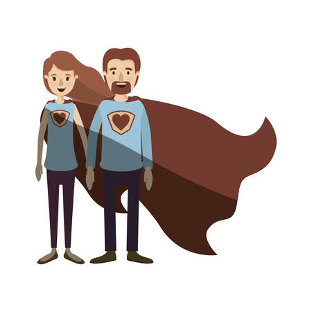 light color shading caricature full body couple super hero with heart symbol in uniform vector illustration