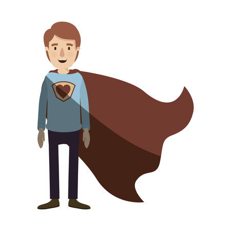 light color shading caricature full body super guy hero with heart symbol in uniform vector illustration