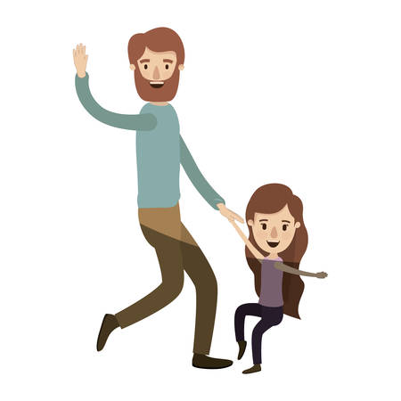 dancefloor: light color shading caricature bearded father with girl dancing vector illustration