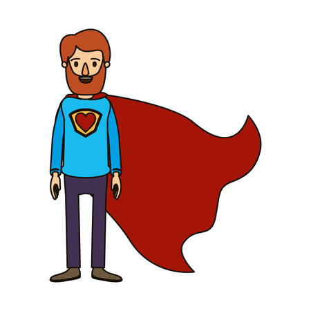 color image caricature full body bearded super man hero with heart symbol in uniform vector illustration