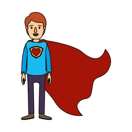 color image caricature full body super guy hero with heart symbol in uniform vector illustration Illustration