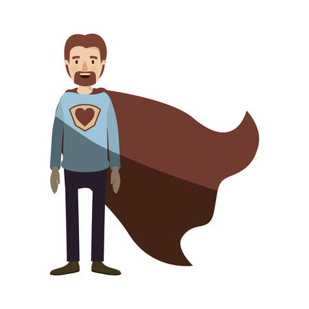 light color shading caricature full body super dad hero with beard vector illustration Illustration
