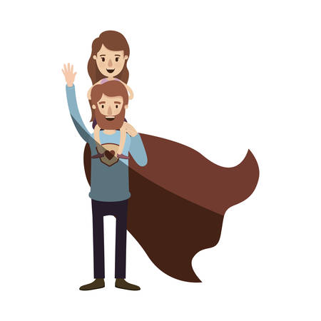 light color shading caricature full body super dad hero with girl on his back vector illustration Illustration