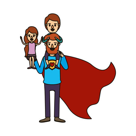 color image caricature full body super dad hero with girl on his hand and boy on his back vector illustration