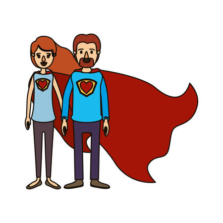 color image caricature full body couple super hero with heart symbol in uniform vector illustration Illustration