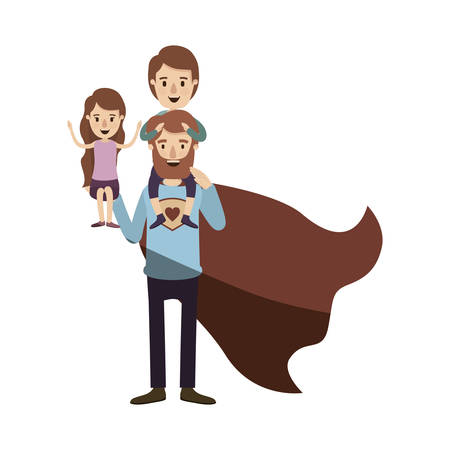 light color shading caricature full body super dad hero with girl on his hand and boy on his back vector illustration