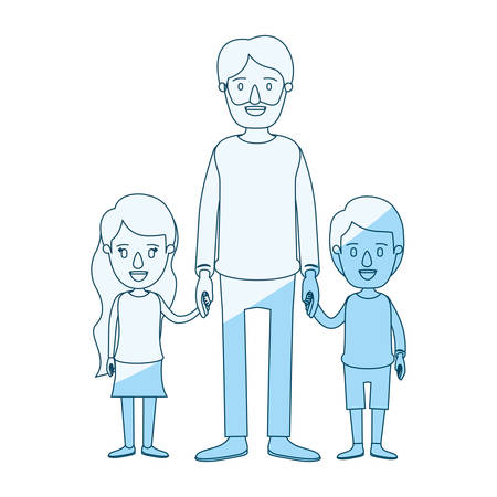 blue silhouette shading caricature full body bearded man taken hand with girl and boy vector illustration Illustration