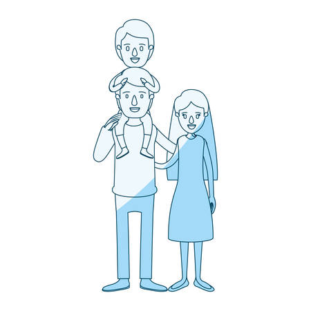 blue silhouette shading caricature family mother and father with boy on his back vector illustration