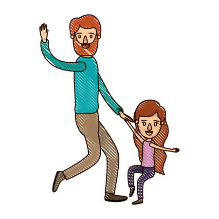color crayon stripe caricature bearded father with girl dancing vector illustration