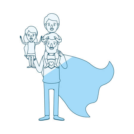 blue silhouette shading cartoon full body super dad hero with girl on his hand and boy on his back vector illustration Illustration