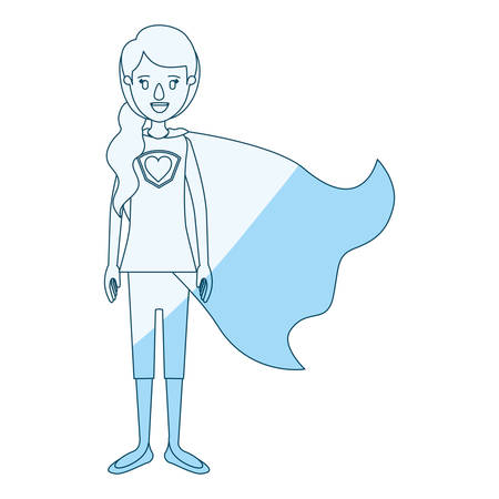 blue silhouette shading cartoon full body super hero woman with ponytail hair and cap vector illustration