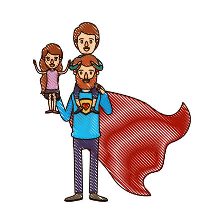 color crayon stripe cartoon full body super dad hero with girl on his hand and boy on his back vector illustration Illustration