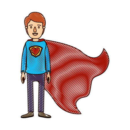 color crayon stripe cartoon full body super guy hero with heart symbol in uniform vector illustration