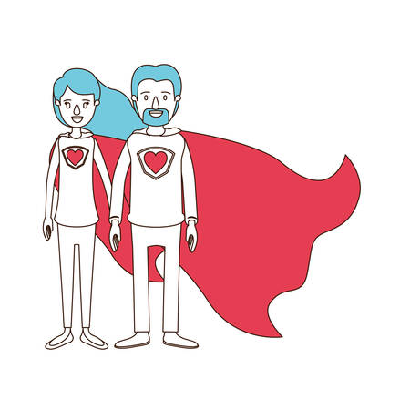 silhouette cartoon with color sections of full body couple super hero with heart symbol in uniform vector illustration