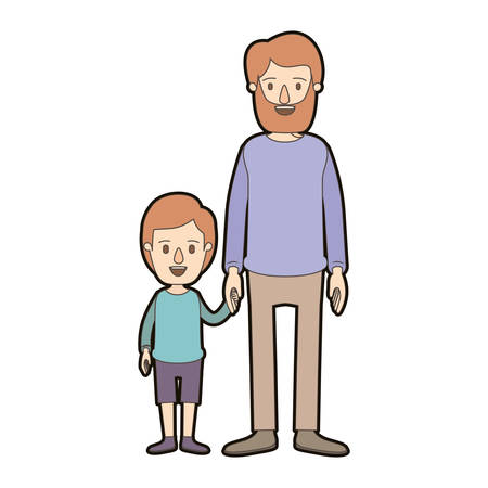 light color caricature thick contour full body man taken hand with little boy vector illustration Illustration