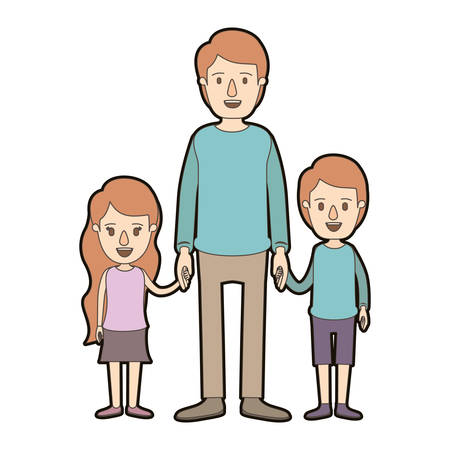 light color caricature thick contour full body man taken hand with girl and boy vector illustration