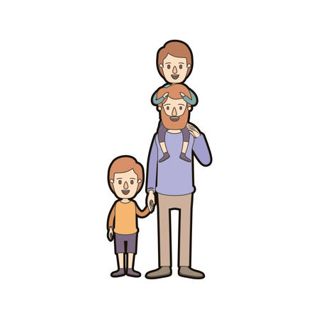 light color caricature thick contour bearded father with boy on his back and kid taken hands vector illustration Illustration