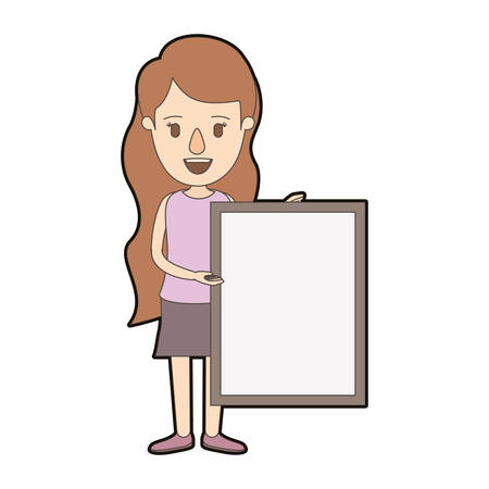 light color caricature thick contour full body woman holding a square poster vector illustration