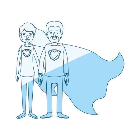 blue silhouette shading cartoon full body couple super hero with heart symbol in uniform vector illustration