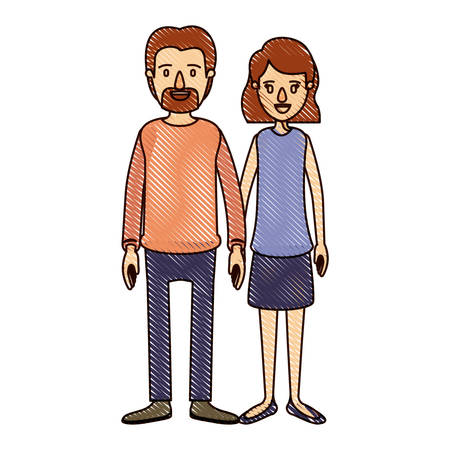 color crayon stripe cartoon full body couple woman with wavy short hair in skirt and man in casual clothing vector illustration Illustration