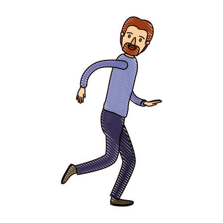 running nose: color crayon stripe cartoon full body male person with beard and moustache running vector illustration