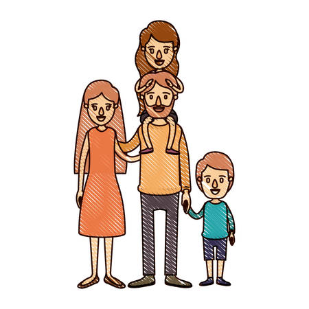 color crayon stripe cartoon family parents with girl on his back and boy taken hands vector illustration Illustration