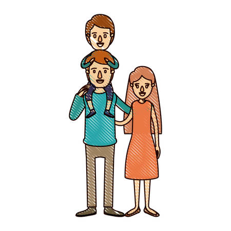 color crayon stripe cartoon family mother and father with boy on his back vector illustration