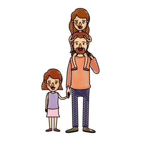 color crayon stripe cartoon dad with daugther on his back and girl taken hands vector illustration Illustration