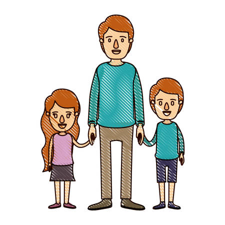color crayon stripe cartoon full body man taken hand with girl and boy vector illustration Illustration