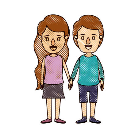color crayon stripe cartoon front view full body couple in casual clothing vector illustration