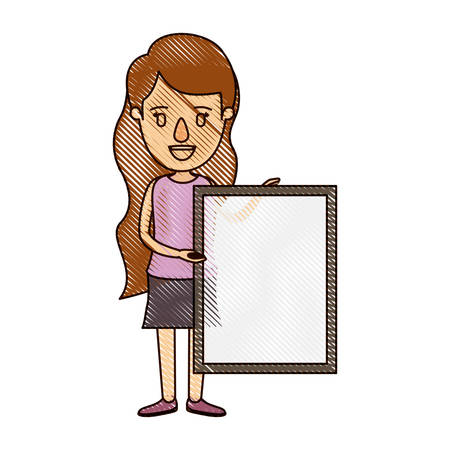 color crayon stripe cartoon full body woman holding a square poster vector illustration