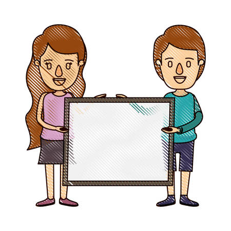 color crayon stripe cartoon full body couple holding a square poster vector illustration