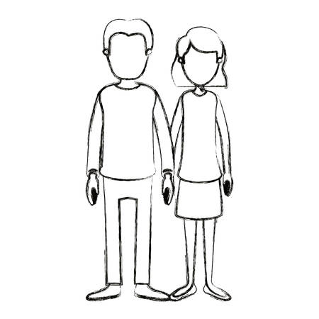 blurred silhouette cartoon full body faceless couple woman with wavy short hair in skirt and man in casual clothing vector illustration