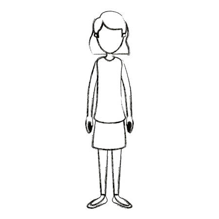 blurred silhouette cartoon full body faceless woman with short hair vector illustration