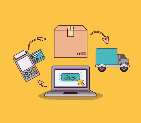 laptop: yellow background with laptop computer with steps of online shopping and delivery vector illustration