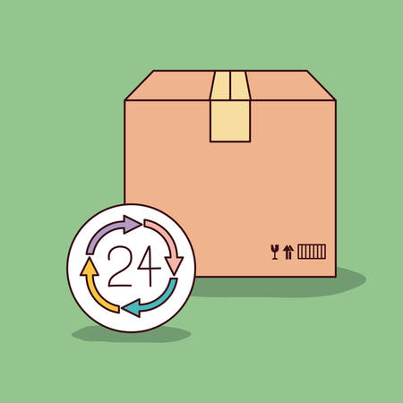 green background with sealed package and 24 hours icon vector illustration Illustration