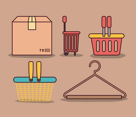 closet: light brown color background with package and differents shopping baskets and hook closet shirt vector illustration Illustration