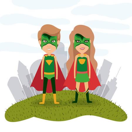 草のベクトル図にスーパー ヒーローのカップルとホワイト バック グラウンド風景