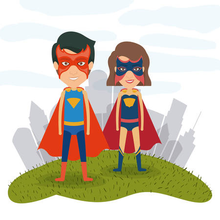 white background city landscape with superhero male and female couple in grass vector illustration