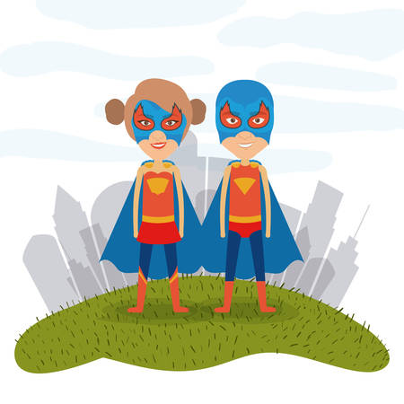 white background city landscape with superhero woman and man couple in grass vector illustration Illustration