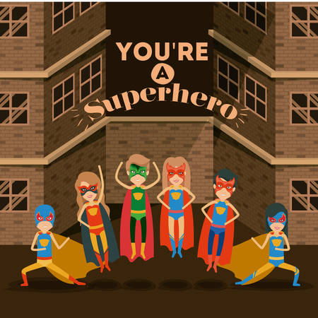 superheroine: sepia color background buildings brick facade with colorful set superhero posing vector illustration