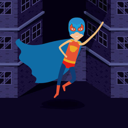 man flying: purple background buildings brick facade with superhero man flying with costumes and complete mask vector illustration