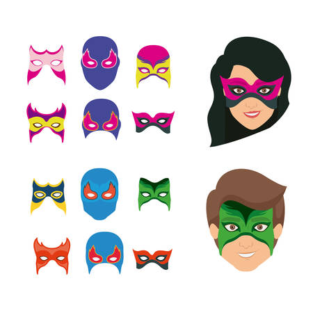 hair mask: white background set ccollection mask of super hero male and female vector illustration